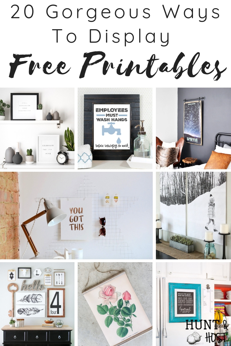 20 ways to display free printables. Wondering what to do with all the free artwork you see on the internet, here are a bunch of ideas to use free prinatbles! #freeprintables #freeartwork #artdisplay #wallart