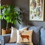 Stunning deer pillow will look great in your farmhouse living room or french country study. Add this deer pillow to your bedroom decor or even great for winter decorating. #deerpillow #antelers #deerdecor #frenchcountry #pillow #pillowcover