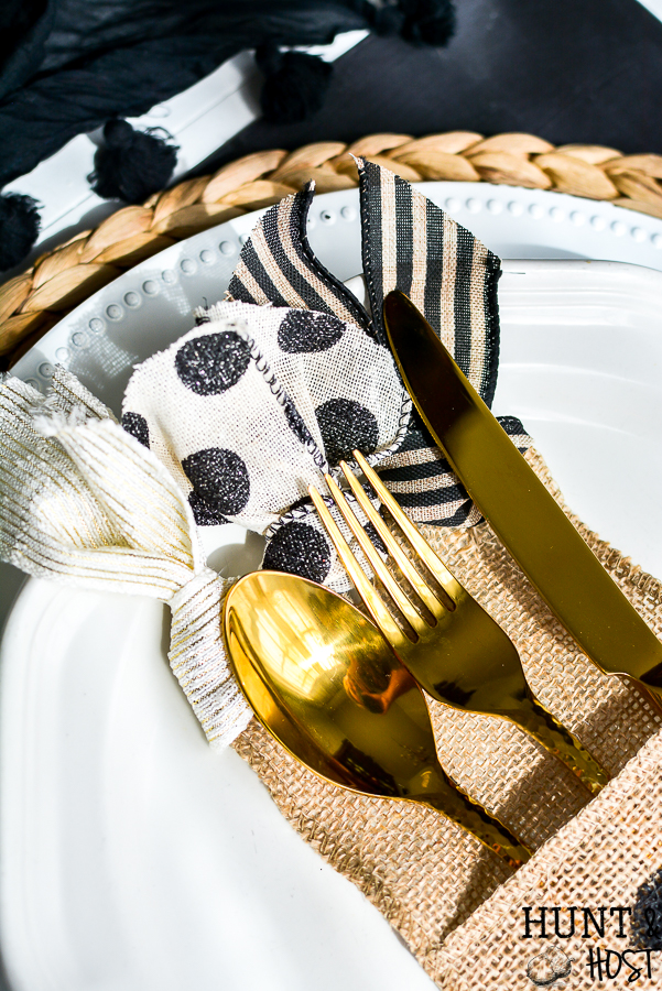 Your source for burlap utensil holders and an easy DIY tutorial to decorate these burlap utensil ouches for an everyday table setting or holiday tablescape. #tablescape #utensilorganizing #holidaytable #everydaydining #burlapdecor #silverwareholder #ribboncraft