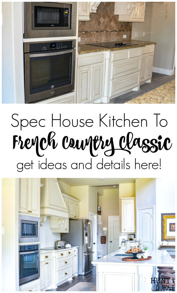 This plain spec house kitchen gets a beautiful upgrade to a French country classic kitchen with these great kitchen renovation ideas and resources. Change your builder grade kitchen into a classic kitchen you love! #kitchenrenovation #frenchcountrykitchen#spechome #buildergraderenovation #kitchenremodel #farmhousekitchen
