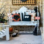 5 ideas to update your Halloween decorations to keep them trendy. Add easy personal touches to your Halloween decorating ideas to keep them current and fun! So many examples in this cute Halloween porch scene. #handmadewithjoann #halloweenporch #halloweenideas #layereddoormat #diysign #glowinthedark
