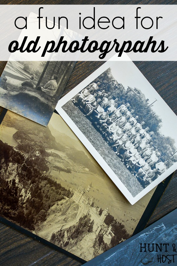 Do you wonder what to do with old photographs? See vintage photos all the time in thrift stores and flea markets? This easy DIY idea will help you add vintage artwork to your home in no time for little cost. These old photo updates are perfect for styling vignettes, gallery walss or updating family photos with personal meaning. #oldphotograph #vintage style #vignette #gallerywall #stencilproject #chalkart #makerboss #vintagephoto