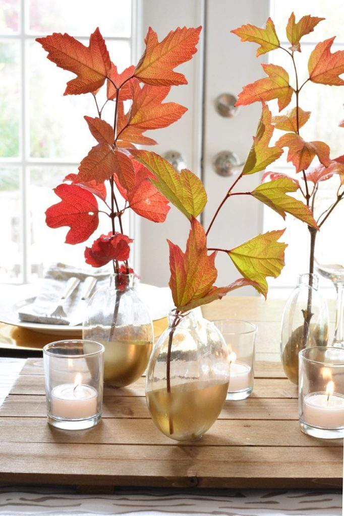 perfect gold painted glass bud vase for fall