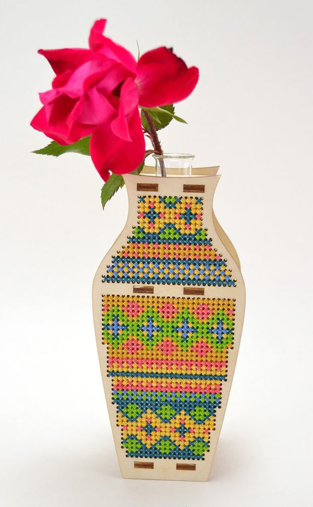 cross stitch bud vase idea