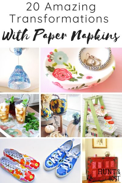 See the most amazing transformations with paper napkins on home decor. Update home decor on a budget with these paper napkin makeover ideas! #papernapkins #napkin[ainting #easydiy #thrifteddecorupdates