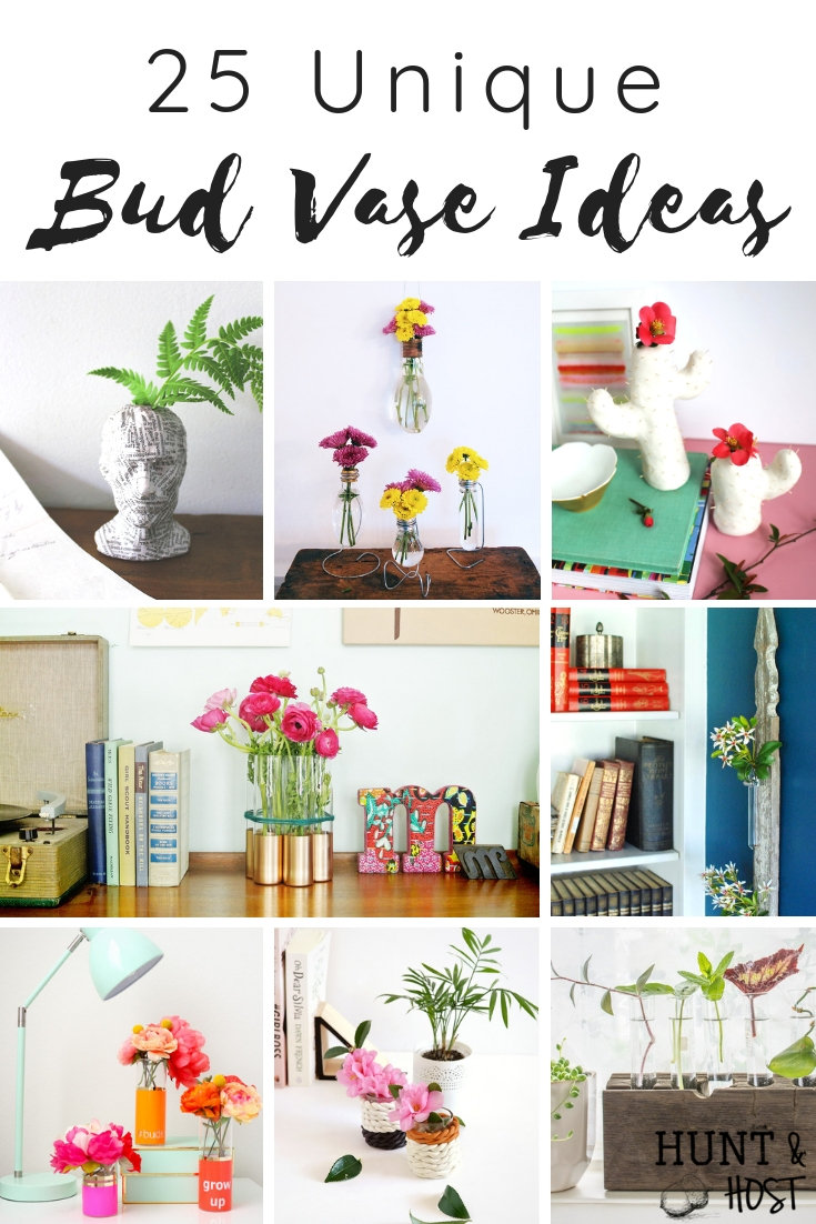 25 Unique bud vase ideas to easily decorate your home with fresh flowers or maybe even faux flowers for a budget friendly way to decorate, especially a small space!! #smallspacedecor #budvaseideas #flowerdecor #easyDIYdecor #smalllivingareaideas