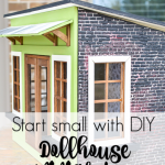 Want to get your feet wet with miniatures? Been dreaming of decoarting a dollhouse? Now is your chance with the Creating Contest from miniatures.com. What will you make? A miniature garden shed, a pint sized farmhouse, the DIY dollhouse ideas are endless in this fun craft project. Get the details and inspiration with this cute garden store dollhouse makeover. #miniatures #diydollhouseideas #thinksmall #mini #dollhousetutorial #dollhouseexterior