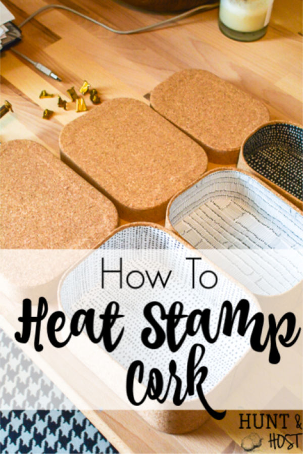 How to heat stamp cork. This easy and fun personalization tool will change your craft tool stash for sure! Cork is a versatile medium to make the cutest home decor and gift ideas. The possibilities are endless with a heat tool and hot stamp letters like this. Step by step instructions for you here! #heattool #hotstamp #corkproject #corkcraftidea #personlizedgiftideas #corkstamp #crafttool