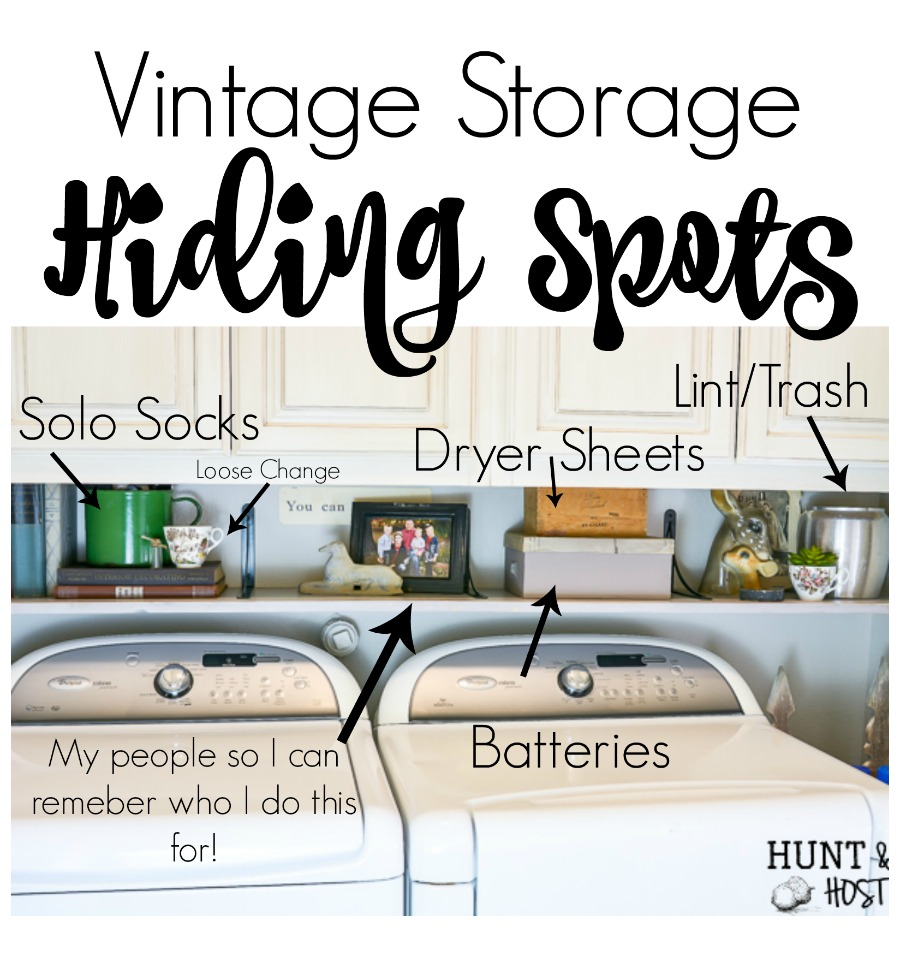 See how vintage storage ideas can add charm and organization to your laundry room. PLUS vintage storage solutions are budget friendly! Love the outdated box that got a makeover with an old sewing pattern. #laundryroomorganization #storagesolutions #budgetstorage #vintagedecorideas